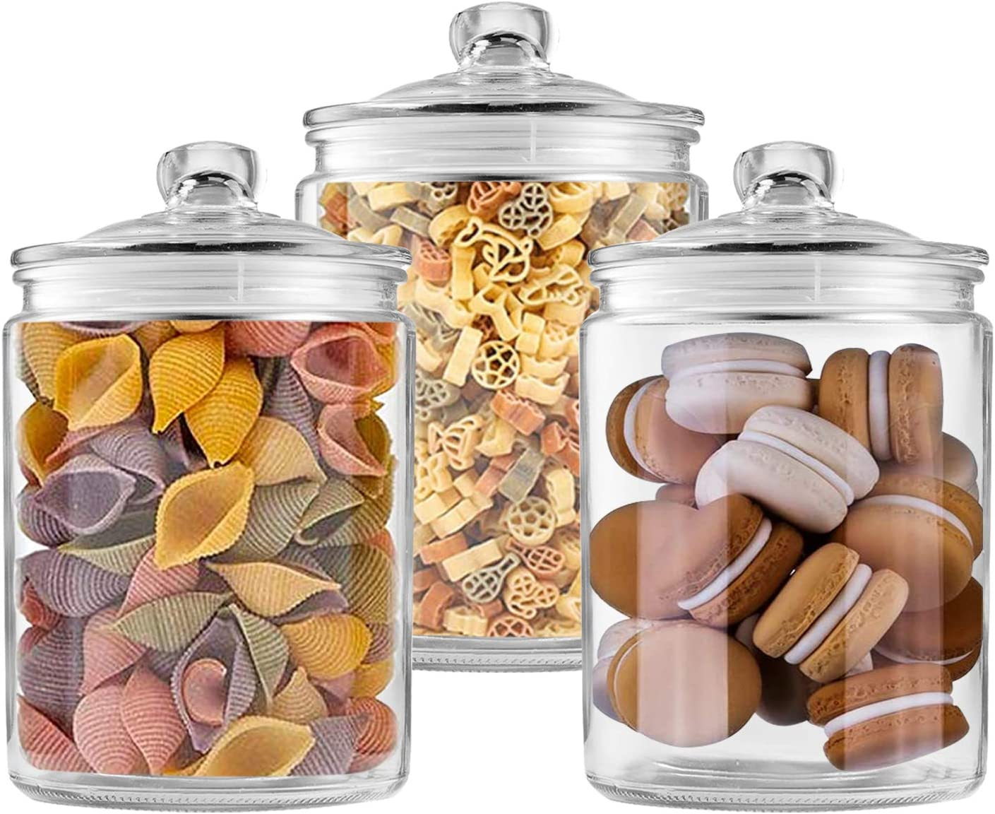 Glass Jars 64 oz,Candy Jar with Lid For Household,Food Grade Clear Jars (3 Pack)