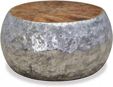 Amazon.com: vidaXL Round Aluminium Teak Coffee Table ...