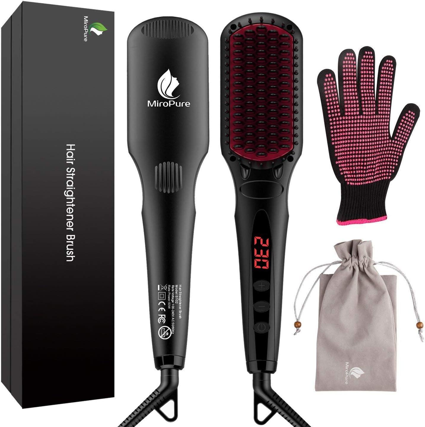 MiroPure Hair Straightening Brush 2 in 1 Ionic Hair Straightener Brush Hot Comb MCH Heating Smoothing Brush with Heat Resistant Glove and Temperature