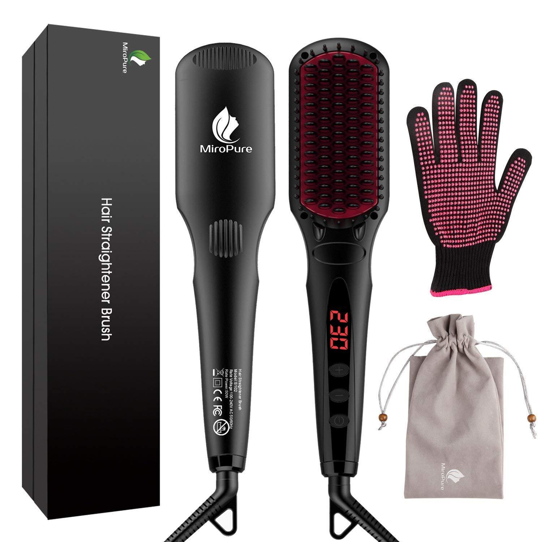 Miropure Cepillo alisador de cabello con calentamiento MCH con guante resistente al calor y funcion de bloqueo de temperatura, 16 configuraciones de calentamiento, doble voltaje