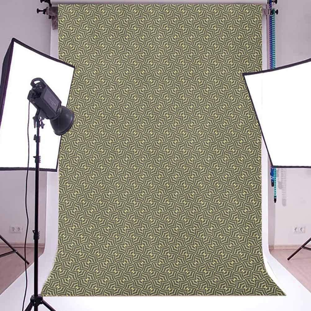 8x12 FT Geometric Vinyl Photography Background Backdrops,Tile Design with Curved Stripes Oriental Timeless Pattern of Waves Background for Child Baby Shower Photo Studio Prop Photobooth Photoshoot