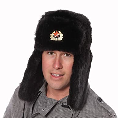 Black Faux Fur Russian Ushanka Hat. 59cm Trapper hat removable soviet badge. 2711987b1c7