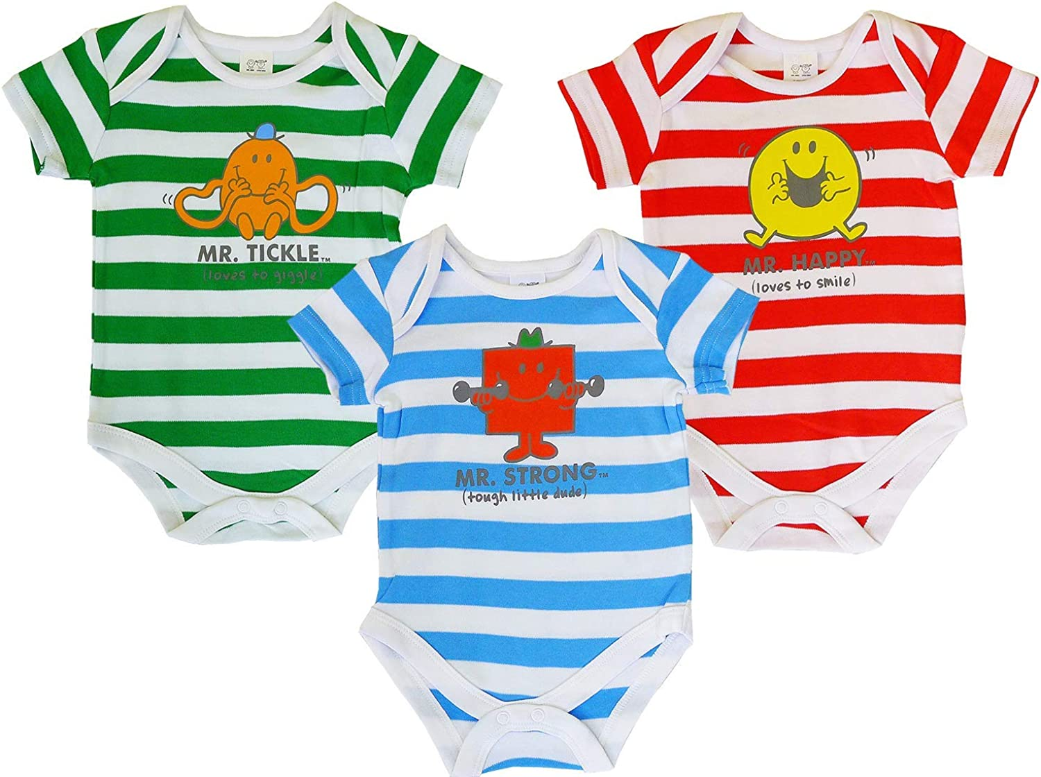 Baby Boys Pack of 3 Mr Men Bodysuit Vest Cotton Tops Sizes from Newborn to 12 Months