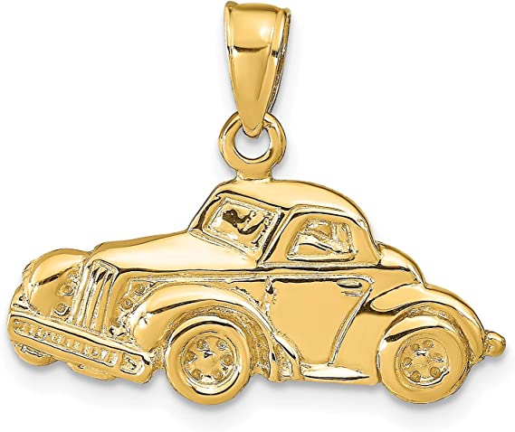 14k Yellow Gold Classic Antique Car Pendant 20x25mm