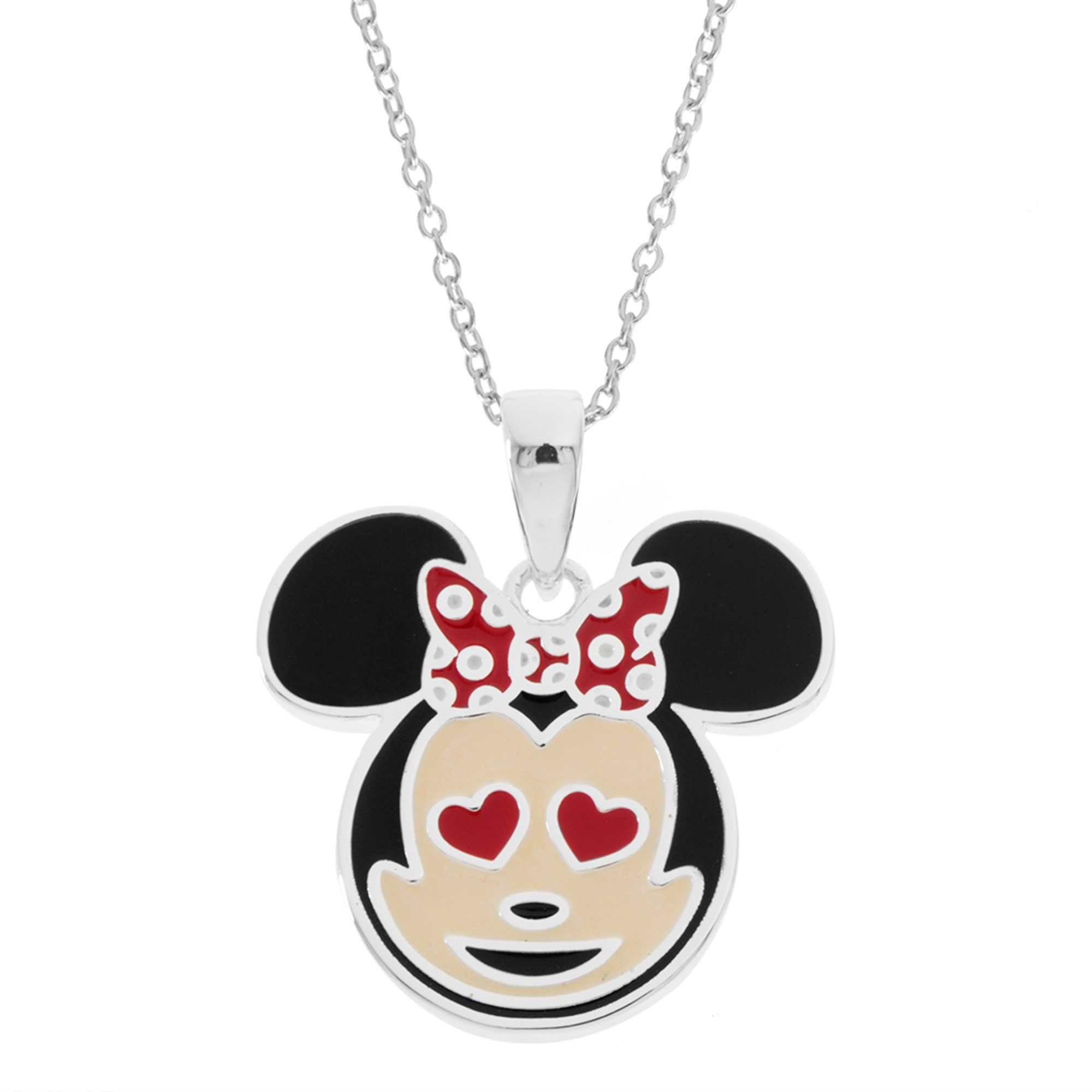 Disney Women's and Girls Jewelry Minnie Mouse Silver Plated Brass Pendant, 18'' Mickey's 90th Birthday Anniversary