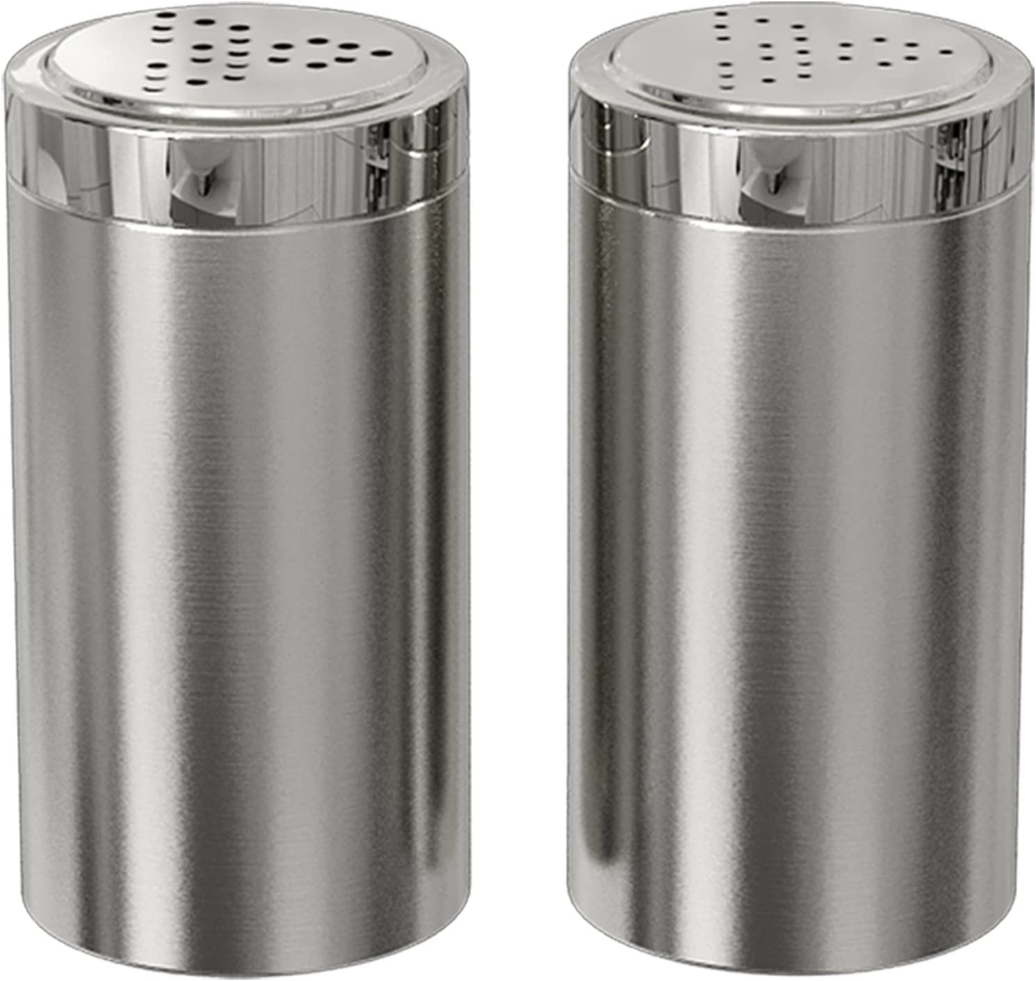 Amazon Com Nu Steel Jumbo Salt Pepper Shaker Set Of 2 15 Oz Stainless Steel With Shiny Finish Small Kitchen Dining