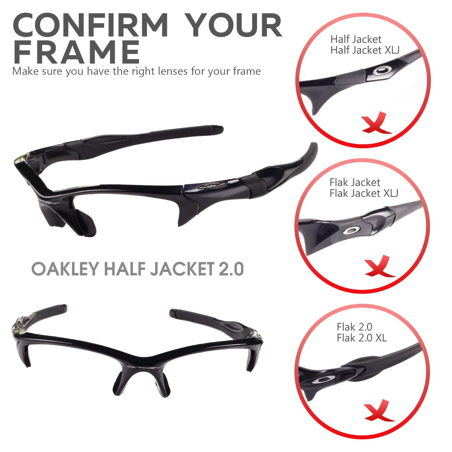 5c4c9037b9 Walleva Replacement Lenses Or Lenses Rubber for Oakley Half Jacket 2.0  Sunglasses - 53 Options larger image