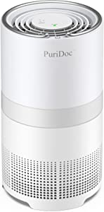 PuriDoc Air Purifier for Home with H13 True HEPA Air Filter, Quiet Desktop Bedroom Air Cleaner for Small Room, Office with Composite Filter
