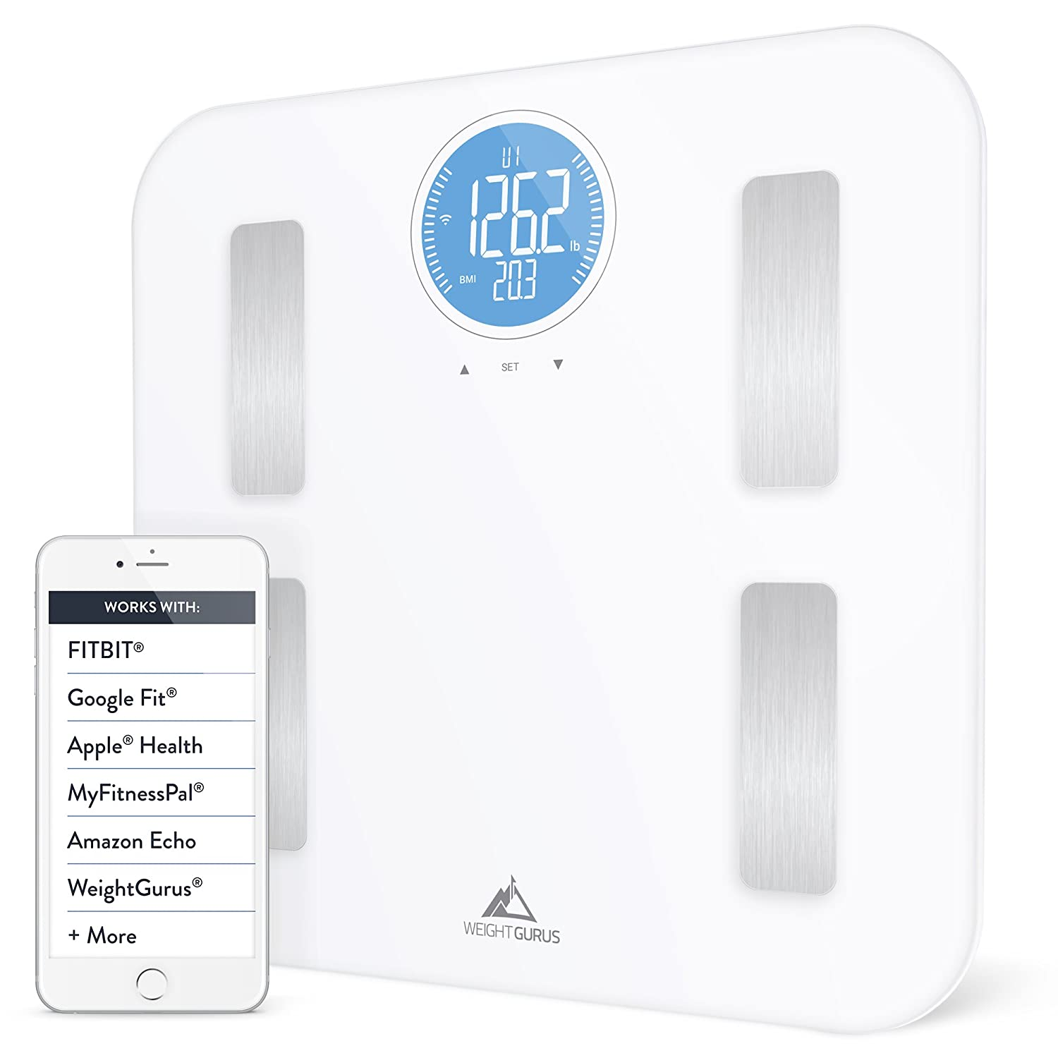 Weight Gurus WiFi Smart Connected Body Fat Scale with Large Backlit LCD  (White + Stainless) (Off-White)