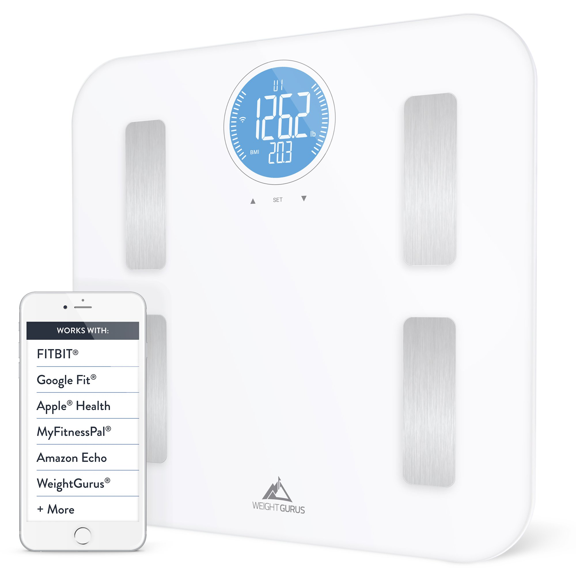 Weight Gurus WiFi Smart Connected Body Fat Scale with Large Backlit LCD (White + Stainless) (Off-White) by Greater Goods