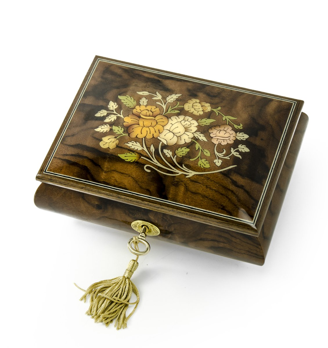 Handcrafted 18 Note Italian Walnut Floral Inlay Musical Jewelry Box with Lock and Key - School Oays