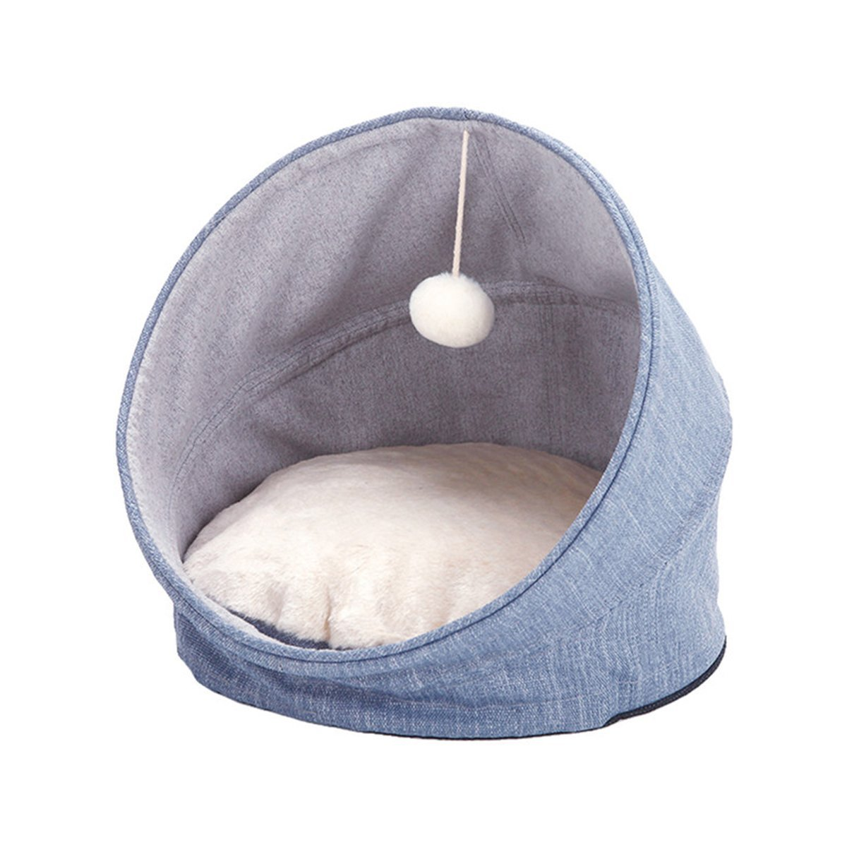 blueE Foldable Pet Bed Self-Warming Cat Bed Home with Soft Cushion Furry Ball Hanging Toy Kitten Harbor Four-Season Haven