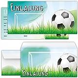 Set: 12 Große Fussball Einladungskarten Mit 12 Umschlägen Zum  Kindergeburtstag Oder Zur Fußball Party