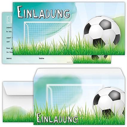 Beriludesign Set 12 Grosse Fussball Einladungskarten Mit 12 Umschlagen Zum Kindergeburtstag Oder Zur Fussball Party Kinder Geburtstag Einladungen