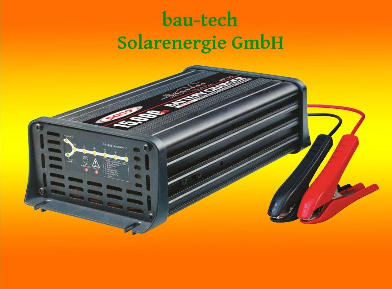 Batterieladegerä t 12V, 15 Amper, 7-Stufen IUoU Automatik, Blei Calcium VRLA AGM GEL Nass von bau-tech Solarenergie GmbH