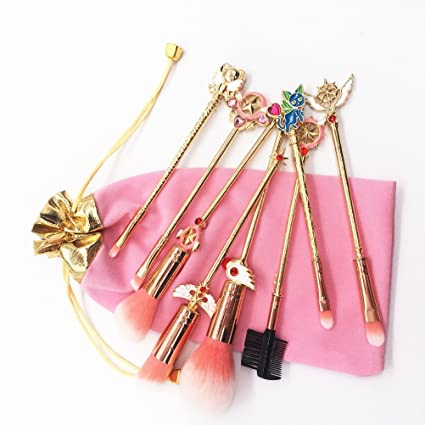 19701492b6e9 Dilla Beauty 8 Unids   lote Big Sailor Moon Pinceles de Maquillaje Conjunto  de Polvos de Metal Dorado ...