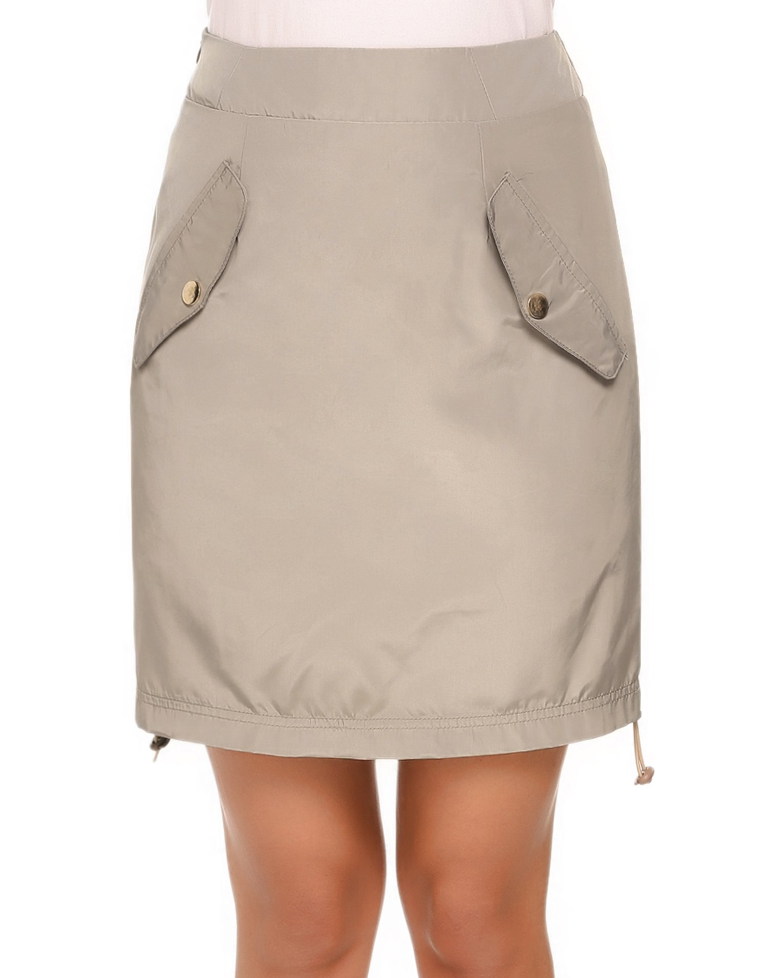 ANGVNS Women's Anytime Casual Skort Skirt with Free Side Shirring (Beige)