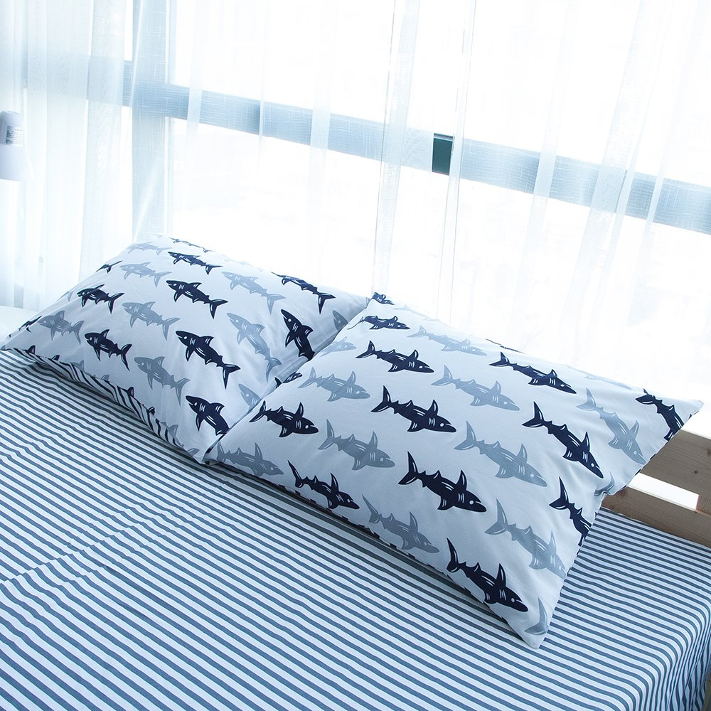 BuLuTu Cotton Navy/Grey Shark Print Bed Pillowcases Set of 2 Queen White Fish Pillow Covers Decorative Standard For Boys Girls Envelope Closure End-Premium,Breathable,Hypoallergenic (2 Pieces,20''×26'')