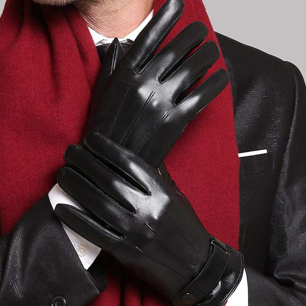 Dall Gloves Gloves Mittens Mens Touchscreen Leather Gloves Driving Winter Warm Color : 001