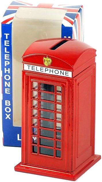 KAV Kamoney Grande Tirelire t/él/éphone londonien Rouge en m/étal moul/é sous Pression 14 cm de Haut avec Une Tirelire Union Jack