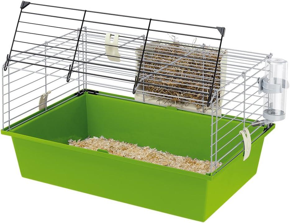 Ferplast Cage pour Lapins nains et Cochons D'Inde Cavie 60, Système de Fermeture de Sécurité, Accessoires Inclus, en Métal Vernis Gris et Bac en Plastique, 58 X 38 X H 31,5 cm