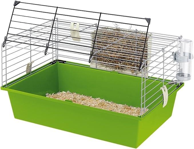 Ferplast Jaula para Conejillos de Indias CAVIE 60, Sistema de Cierre de Seguridad, Accesorios incluidos, Estructura de Alambre Pintado Gris y cubeta de plástico, 58 x 38 x h 31,5 cm