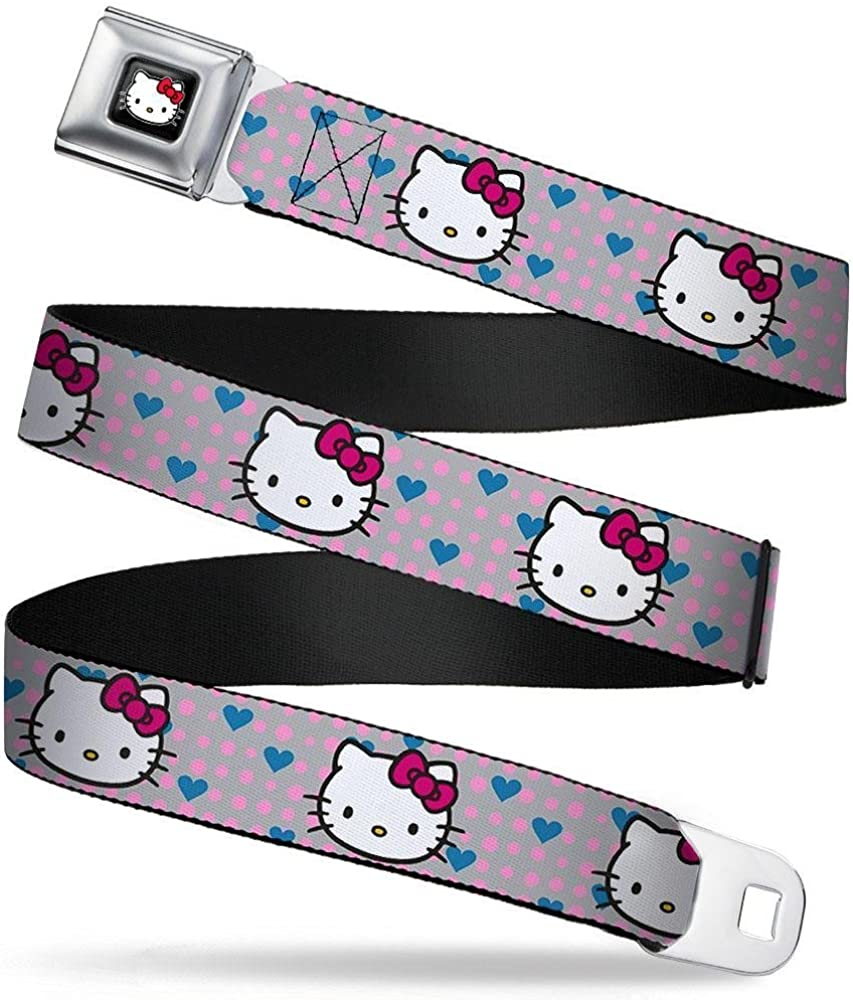 Buckle-Down Seatbelt Belt Hello Kitty C//U w//Dots /& Hearts Gray//Pink//Blue 20-36 Inches in Length 1.0 Wide