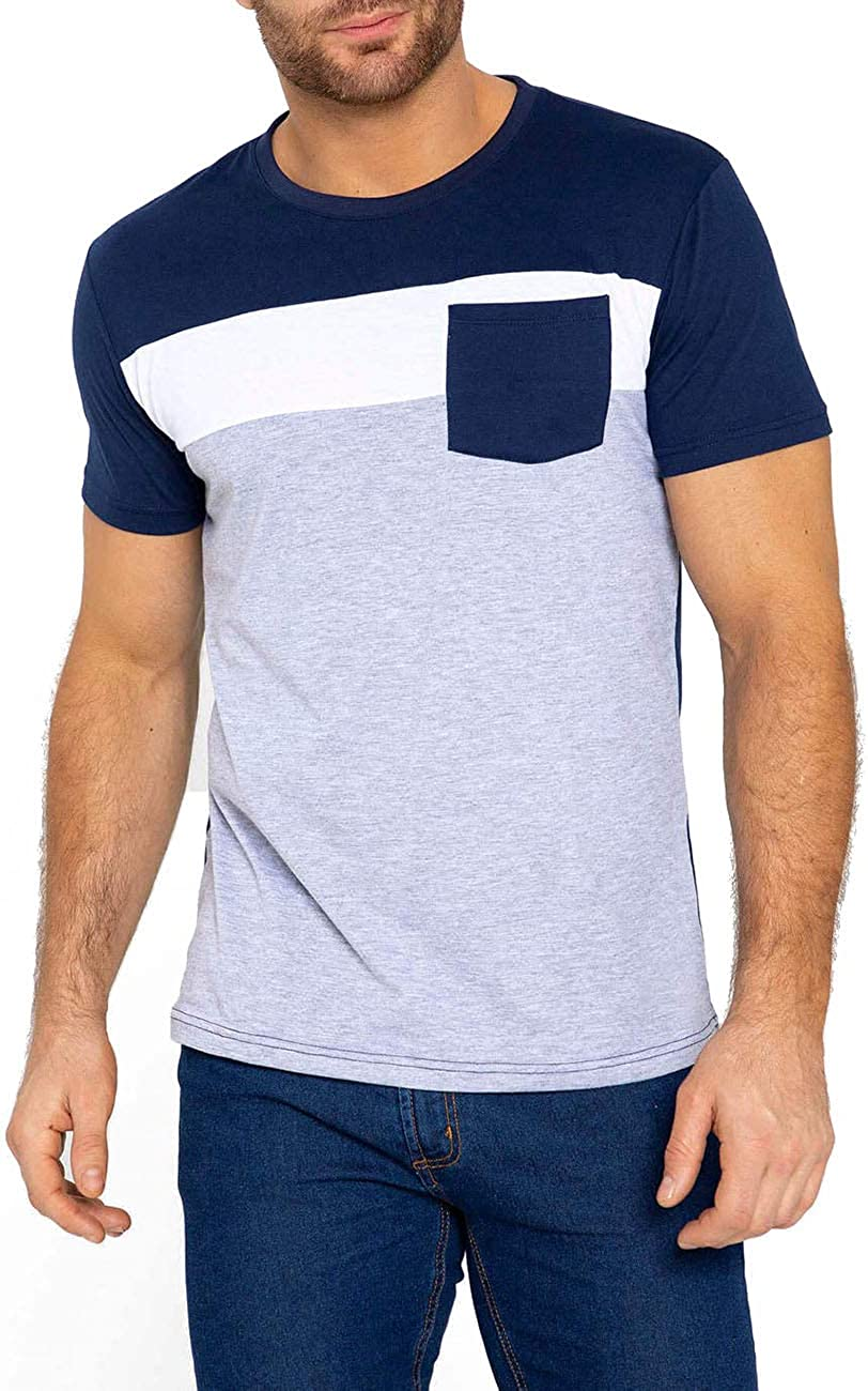APRAW Men's Hipster T Shirt Contrast Color O Neck Casual Short Sleeve T-Shirt Tee Top