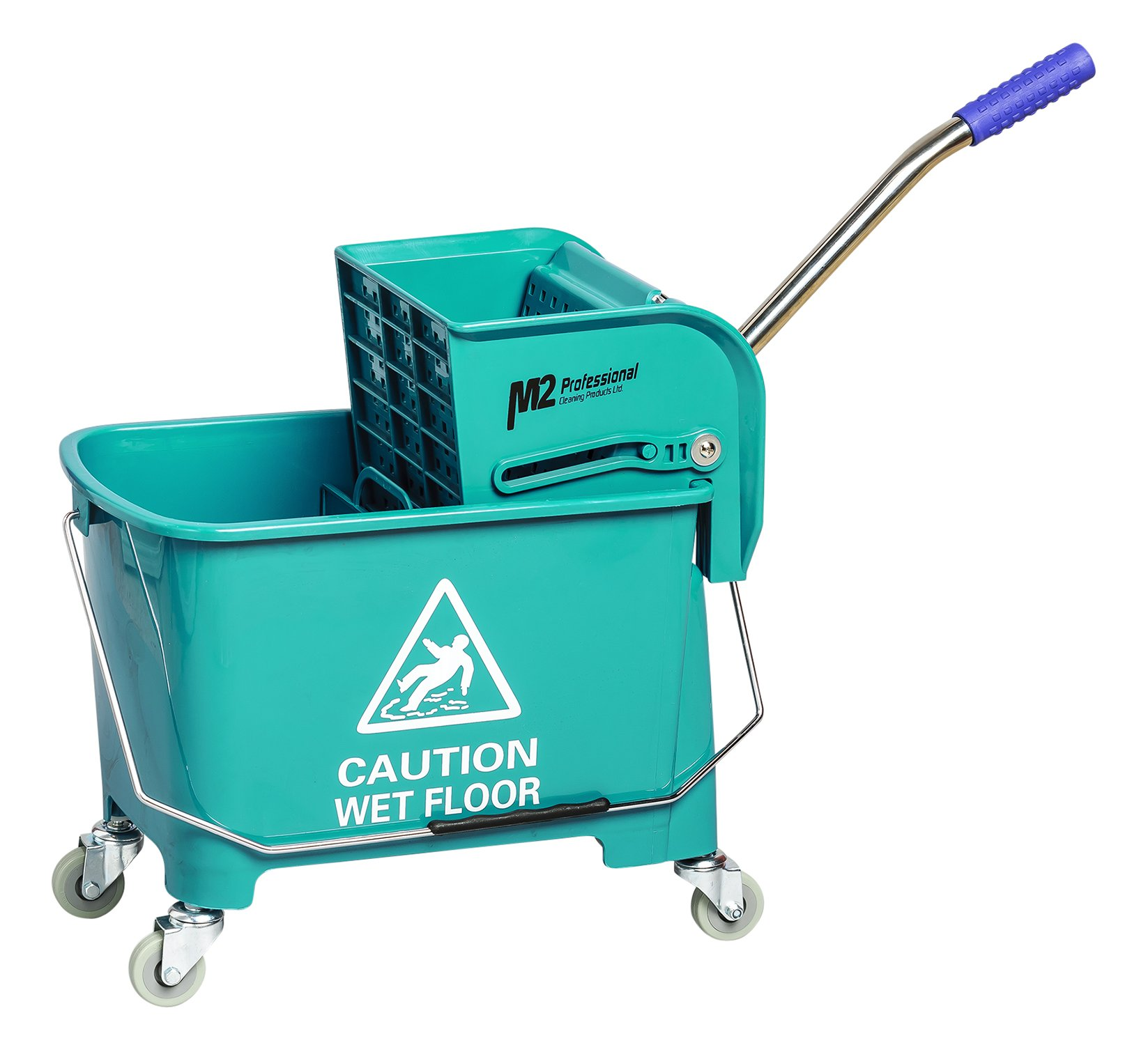 M2 Professional Junior Commercial Mop Bucket with Side Press Wringer and Wheels, 23 Quart/6 Gallon Capacity - Green