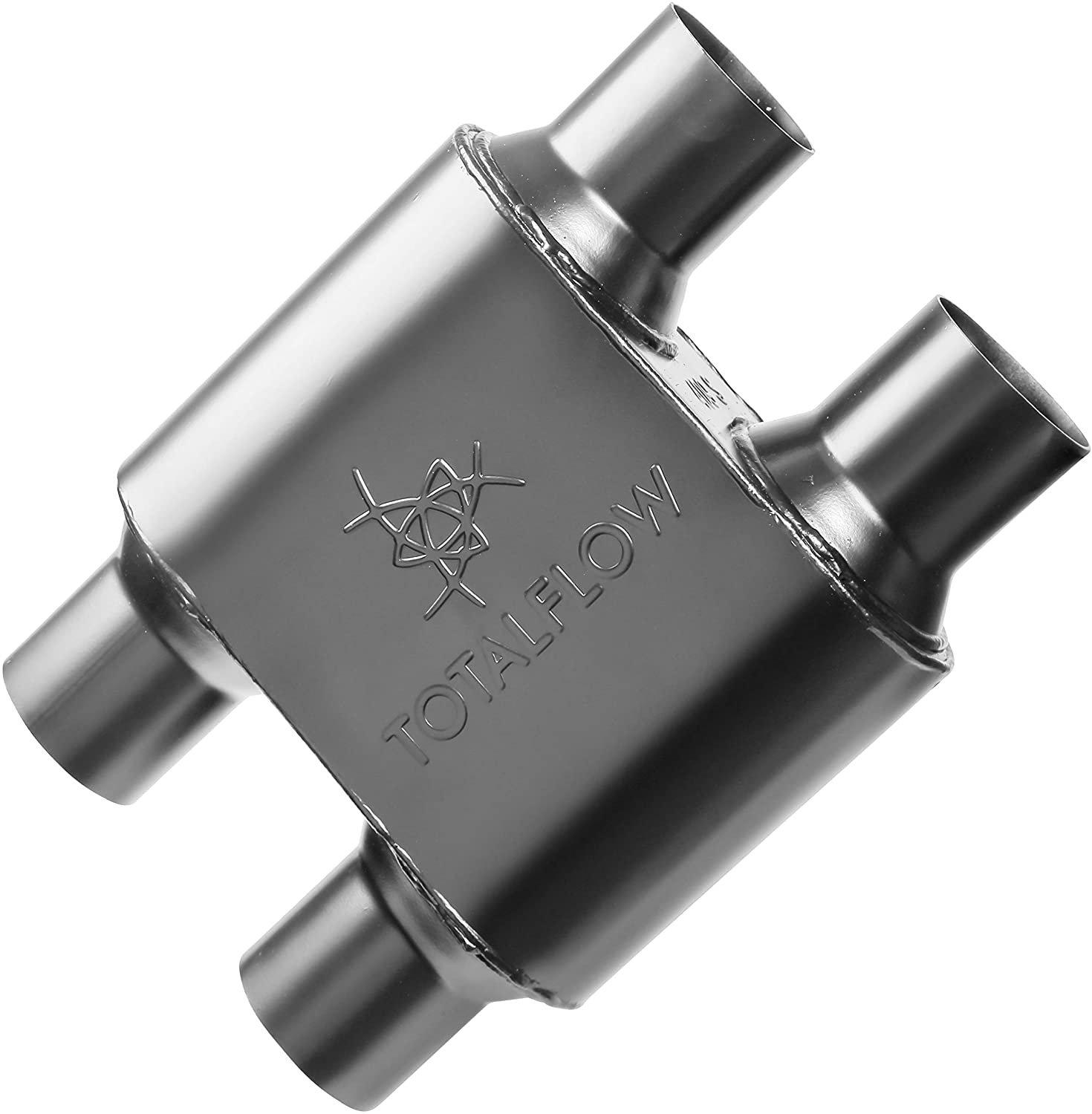 TOTALFLOW 442516 Single Chamber Universal 2.5' Muffler - 2.5' Offset IN / 2.5' Center OUT.