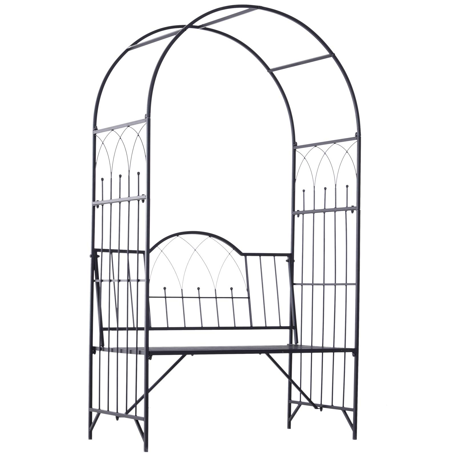 Outsunny Outdoor Garden Arbor Arch Steel Metal with Bench Seat - Black
