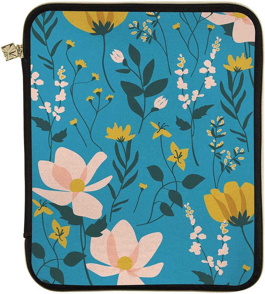 """Erin Condren Planner Folio - Wild Flowers - Medium (9"""" x 11"""") - Organize on The Go with Storage for Books, Planners, Notebooks. Use as Laptop Case with Pen Holder, Gold Zipper"""