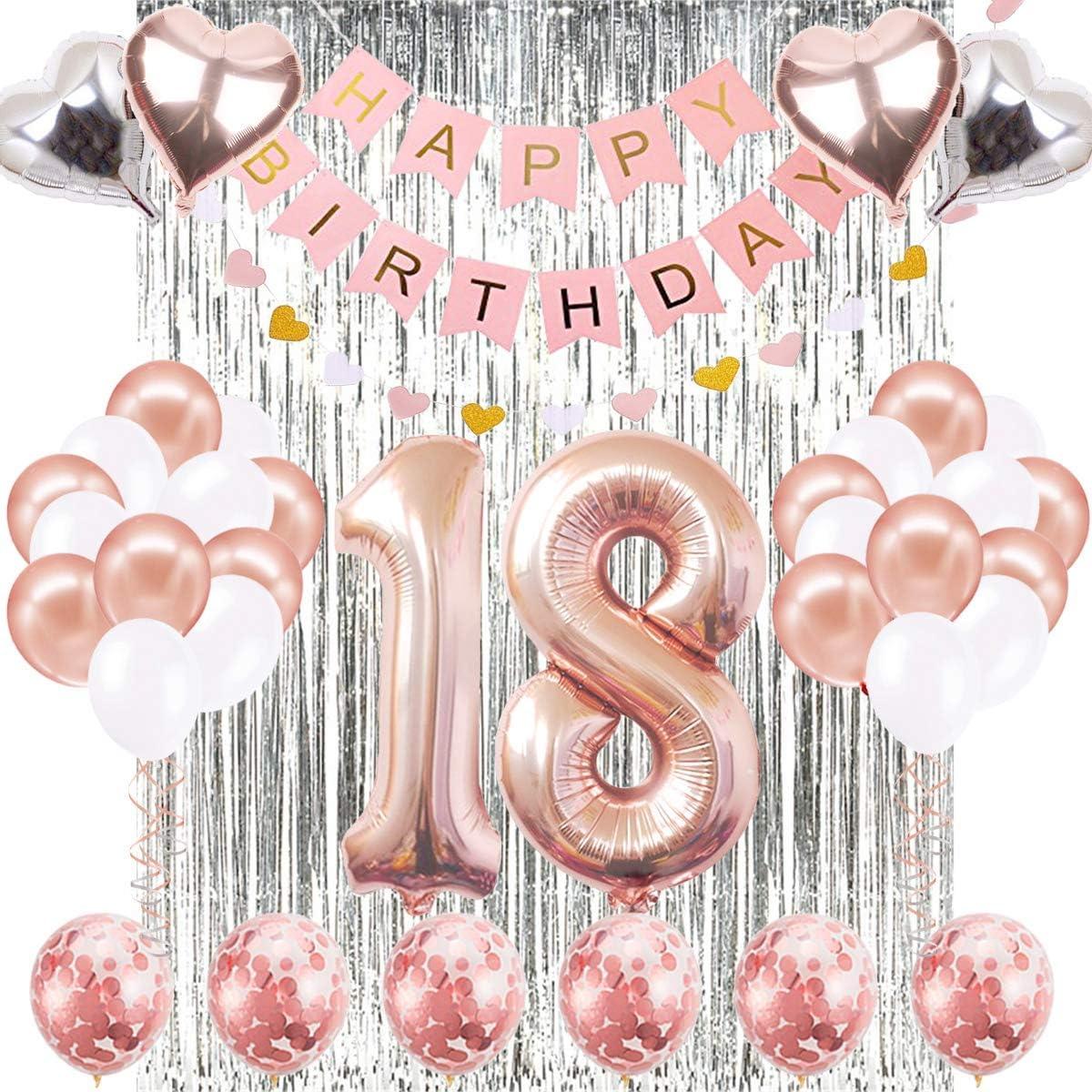 Decoraciones de Cumpleaños Número 18 Banner Globo Decoraciones de Cumpleaños Número 18 Artículos de Fiesta Regalos Para Mujeres Globos Número 18 de Oro Rosa, Globos de Confeti de Oro Rosa