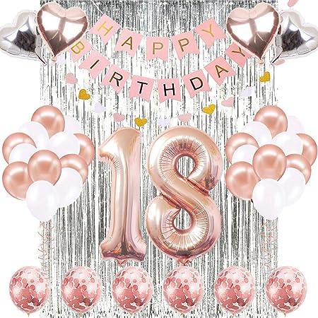 Decoraciones de Cumpleaños Número 18 Banner Globo Decoraciones de Cumpleaños Número 18 Artículos de Fiesta Regalos Para Mujeres Globos Número 18 de ...