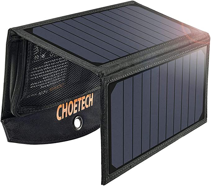 CHOETECH Cargador Solar Portatil, 19W Panel Solar Cargador Placa Solar Impermeable Solar Power Bank USB Puertos para Teléfonos Samsung, iPhone, ...