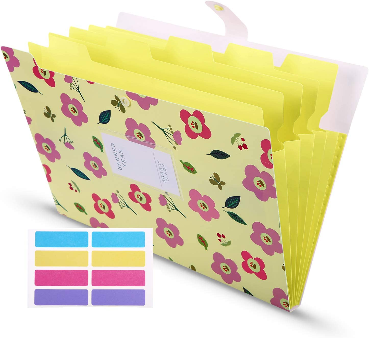 Skydue Floral Printed Accordion Document with 8 Lables, File Folder Expanding Letter Organizer for School Office Home