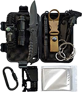 LIT FITNESS Survival Kits Emergency Survival Kit, Including Rock Climbing Gear, Emergency Blankets, Survival Bracelet, Tactical Pen, Tactical Flashlight, Gifts for Men