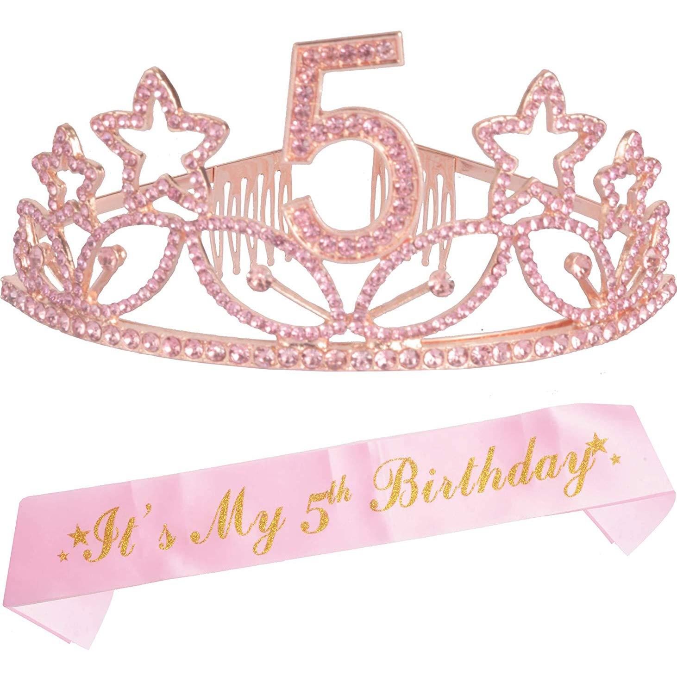 5th Birthday Gifts for Girls, 5th Birthday Tiara and Sash Pink, Happy 5th Birthday Party Supplies, 5 & Fabulous Glitter Satin Sash and Crystal Tiara Birthday Crown for 5th Birthday Party Supplies