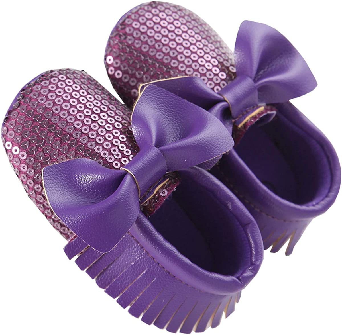Infant Toddler Baby Soft Sole Tassel Bowknot Moccasin Crib Sequins Shoes
