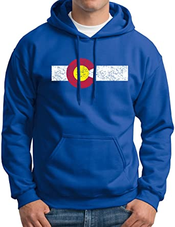 a92e1653788c Colorado Hooded Sweatshirt Rocky Mountain Centenial State Flag Hoodie  Vintage Royal S