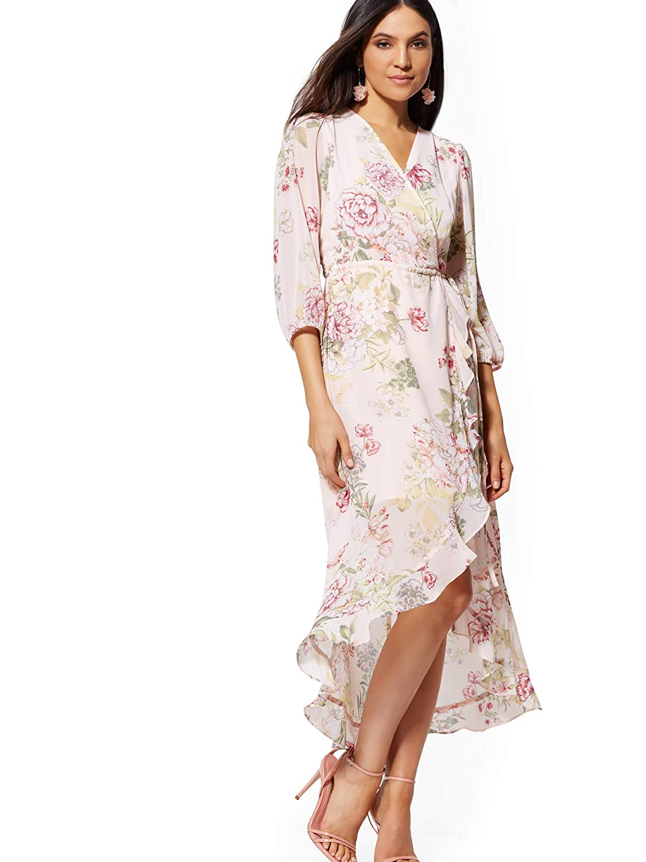 fd07e8b3b794e Amazon.com  New York   Co. Women s Tall Pink Floral Wrap Maxi Dress   Clothing