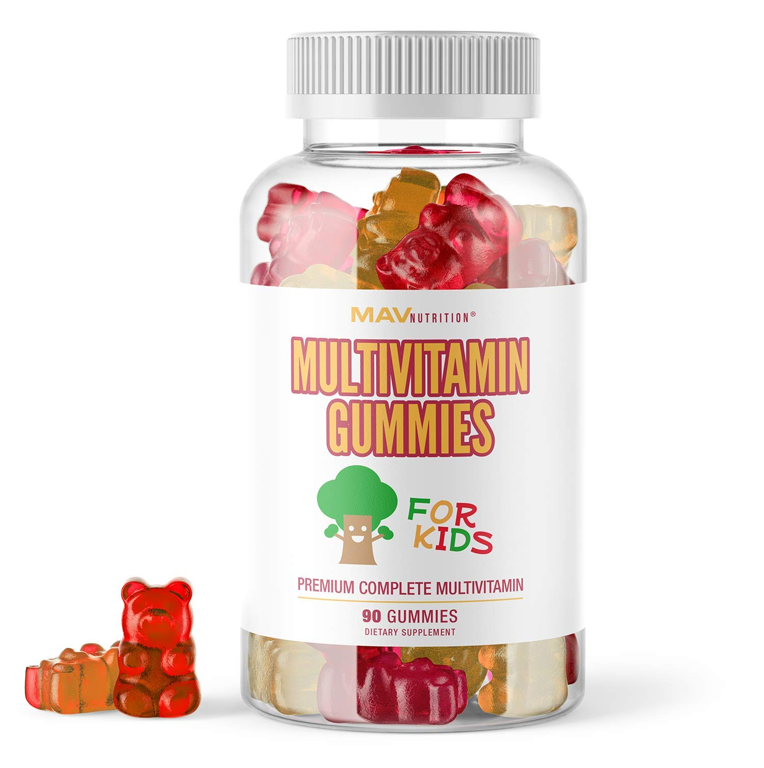 MAV Nutrition Multivitamins for Kids Gummies - All Essential Vitamins with Vitamin D and Zinc - Gluten Free, Non-GMO, Natural Flavoring; 90 Count