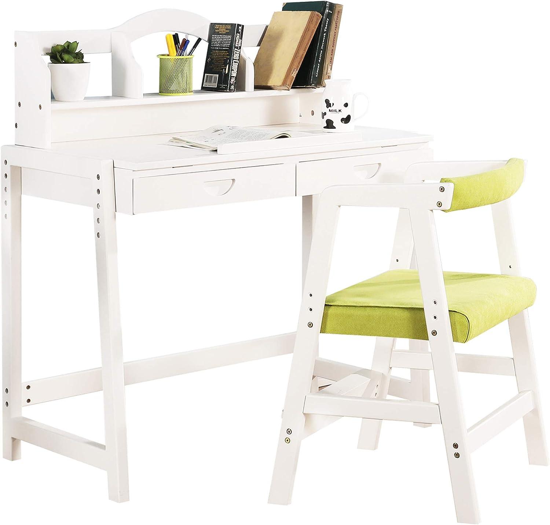 MallBest Kids Study Desk and Chair Set,100% Soild Wood,Height Adjustable Multifunctional Children's Study Desk Chair Set with Drawer for Kids(White)