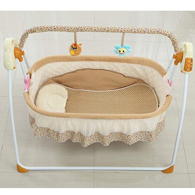 Khaki Wanlecy Electric Baby Crib Cradle Auto Swing Rocking Cot Infant Sleeping Basket with Music and Toys Newborns 0-18 Months