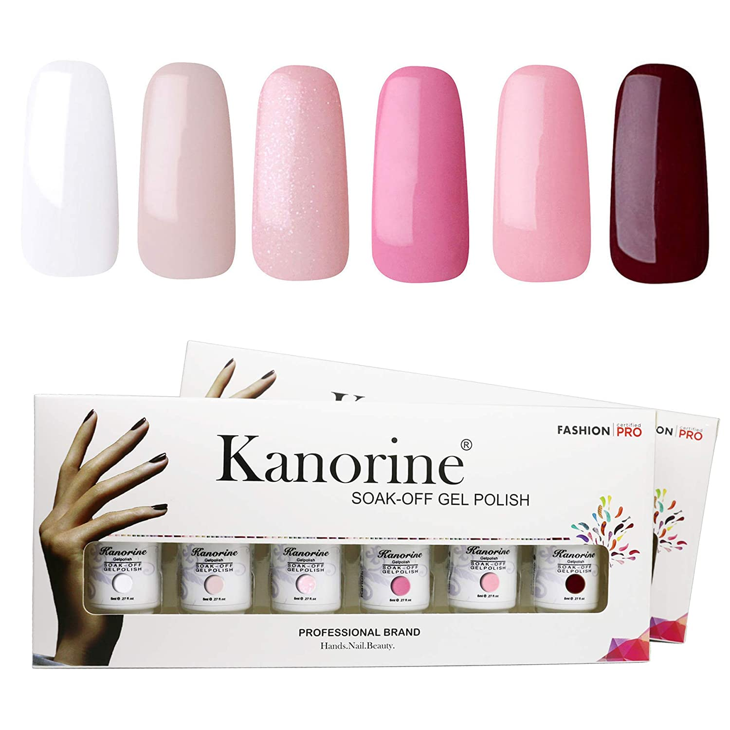 KANORINE Nail Gel Polish Set(6pcs) Soak off UV/LED Gel Nail Polish Long-Lasting Gel Varnish Manicure Shiny Fashion Gift Set 8ml x6 (#10)