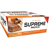Supreme Protein Bar, Caramel Nut Chocolate, 30g Protein, 3.38 Ounce Bars (Pack of 12)