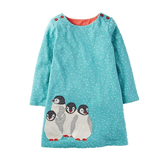 Amazon.com: Coac3 Baby Girls Kids Dresses Animal Appliques Christmas Princess Dress Children: Clothing