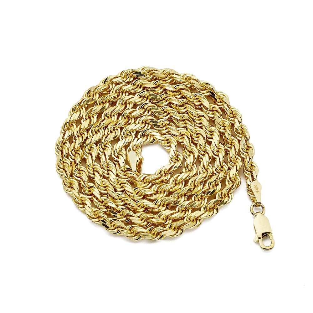 MR. BLING 14K Yellow Gold 3.5mm Diamond Cut Rope Chain Necklace, Mens Womens with Lobster Lock (22)