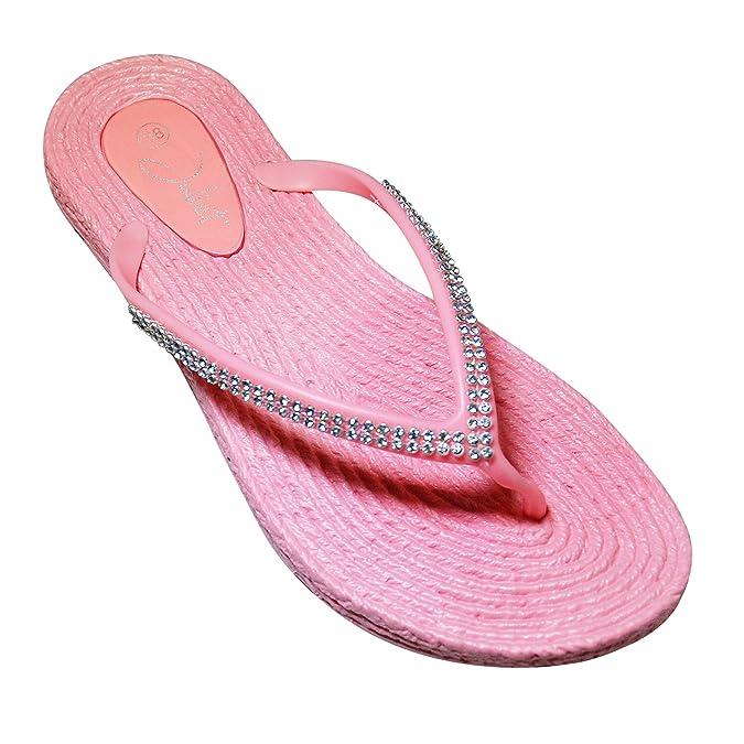 Damen Strass Badelatschen Zehentrenner Strandschuhe Slipper Schuhe Gr. 36-41 (38, Gelb)