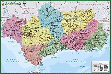 Poster Mapa De Andalucia: Amazon.es: Oficina y papelería